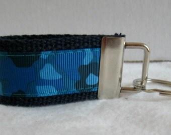 Blue Camo Key Fob - Mini Camouflage Blue Small Keychain - Blue Camo Zipper Pull