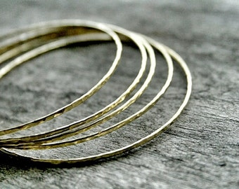 Brass Bangle Bracelet, Hammered Brass Bangle, Bangle Set, Brass Jewelry,Hammered Metal Bracelet,Stackable Bracelet Set,Stacking Bangles