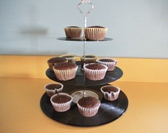 3 Tier Record Album Cupcake Dessert Stand - TINA TURNER and EURYTHMICS - Upcycled