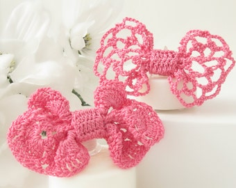 Bow Tie Hair Clips, Crochet Lace Hair Bows for Girls, Women, Pink Hair Clip Accessories