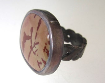 Red Flower Jasper Cabochon and Sterling Silver Size 7 ring,  Carved S Sterling silver Ring band