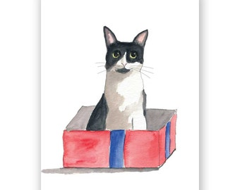 Box Cat Birthday Card