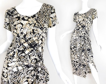 Sz 8 90s Wrap Front Rayon Midi Dress - Women's Vintage Baroque Print Black White Brown Short Sleeve Faux Sarong Tie Hip Dress