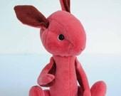 Billie - handmade collectible pink cashmere artist hare rabbit, 10.5 inches, from BigFeetBears