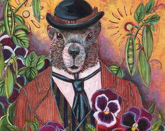 Marmot in a Pea Garden 10x10 inch Print on Paper