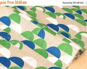 Japanese Fabric - Camping canvas - green, blue, white - 50cm