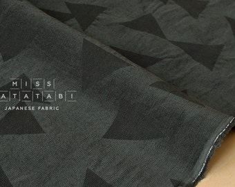 Japanese Fabric Kokka Tsumiki Enshuku Corduroy triangles - green grey - 50cm
