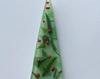 Modern Christmas Tree~Fused Glass Pin