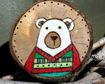 Wood burned Polar Bear Christmas Ornament Bear in Ugly Sweater painting Nursery art GIFT Customized
