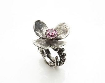 Octopus Tentacle Silver Platinum ring, Pink Tourmaline flower adjustable ring by Zulasurfing 30% off mithers day special