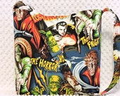 Rockabilly Hollywood Monsters Purse - Retro Frankenstein - Dracula Handbag - Halloween Monsters - Horror Monsters Hobo Bag - Handmade Purse