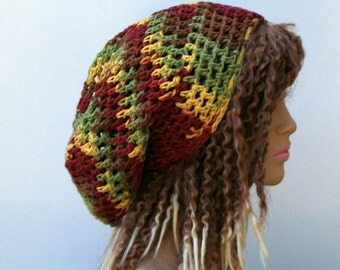 Cotton slouchy hat, fall leaves colors Bohemian hippie dread tam hat, slouchy snood beanie