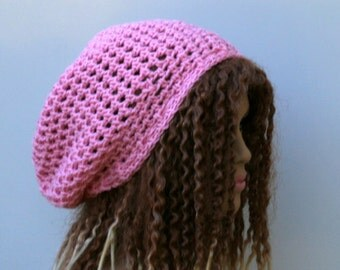 Soft summer slouchy hat, light pink small dreadlock beanie tam hat hairnet snood slouchy crochet, slouch beanie, slouchy beanie