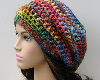 Crayons Fun colors slouchy beanie, small dread tam hat, slouch beanie, smaller dreadlocks hat, vegan woman beanie, bright tam beanie rainbow