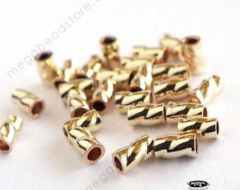 50 pcs 3mm x 2mm 14K Gold Filled Twisted Crimp Bead Tube Spacer 14/20 F22GF