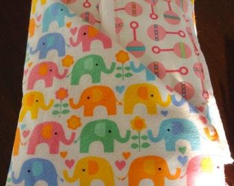 Newborn Gift Set - Elephants & Rattles Receiving Blanket/Burp Cloths