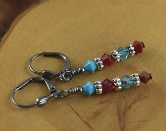 NATIVE PRINCESS red and turquoise gunmetal Les Petite Cristaux Swarovski crystals handcrafted earrings gorgeous and still affordable