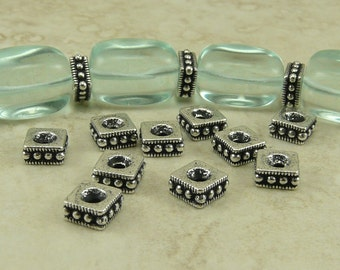 10 TierraCast Large 6mm Rococo Square Spacer Beads > Fine Silver Plated Lead-free Pewter - I ship Internationally 5633