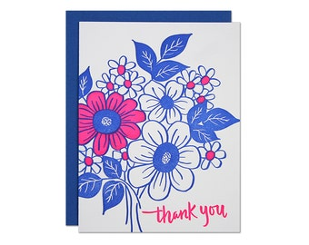 Thank You Bouquet Letterpress Card