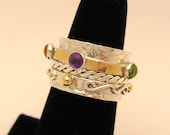 MADE TO ORDER - Mothers Twiddle Spinner Ring Sterling Silver 14k yellow gold gemstones