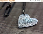 40% OFF CLEARANCE Little Black Dress - Sterling Silver Roll Printed Lace Texture Heart - Limited Edition