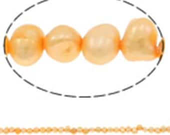 14 inch Strand Potato Cultured Freshwater Pearl Beads In gold-3877c