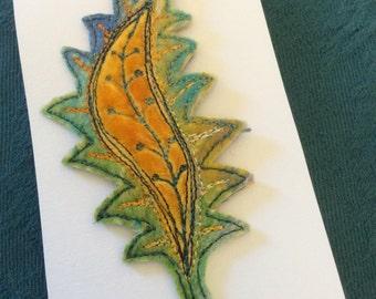 Paisley leafy felt embroidered brooch