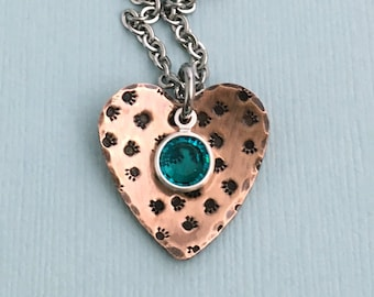 Paw Prints on My Heart - Copper Hand Stamped Necklace - Dog Lover Gift