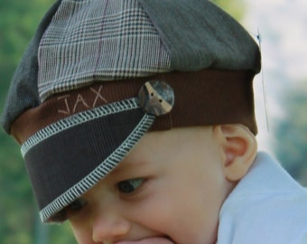Toddler Jax Hat, brown suitcoat hat, brown mixed up hat, recycled t shirt hat, upcycled hat, baby hat, repurposed hat, Jaxhat, newsboy hat