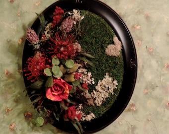 wall floral arrangement, roses, flowers , floral arrangement, frame, floral design, moss.protia, wall decor