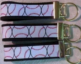 4 1/2 inch Black and White Baseball Key Fob