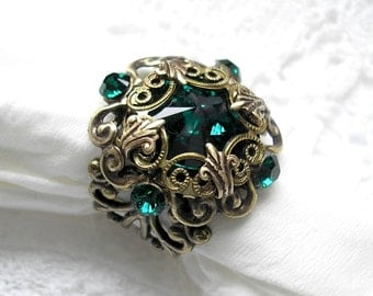 Enchanted Emerald Antiqued Brass Filigree Ring Swarovski Rivoli Ring