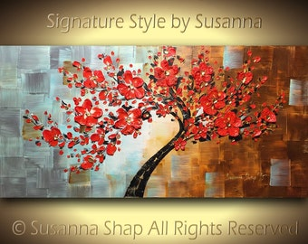 ORIGINAL Large Abstract Contemporary Red Cherry Blossom Tree Oil Painting Home Decor Thick Texture Gallery Fine Art 48x24 ~Susanna