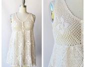 crochet short dress / hippie wedding dress / small