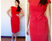 valentine's day sculptural red BOW fitted dress xs