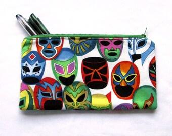 luchador zipper pouch, mascaras, wrestlers, unisex coin purse, travel cosmetic makeup bag