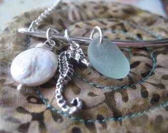 Beach Charm Necklace, Sterling Silver, Sea Horse Charm, Natural Sea Glass, Coin Pearl, Beach Theme, Bar Necklace, Pale Aqua Glass