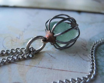 Sea Glass Necklace, Vintage Metal Cage, Genuine Ocean Glass, Aqua Sea Glass, Caged Necklace, Vintage Chain,Silvertone Chain, Womens Jewelry