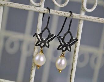 Lotus Earrings, Lotus Dangle Earrings, Freshwater Pearls, Darkened Silver, Natural Pearl Earrings, Drop Lotus Earrings, Oxidized Silver
