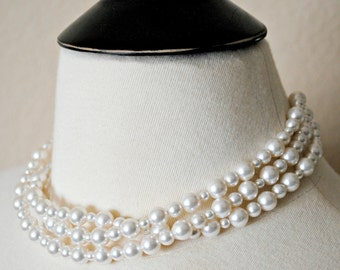 Bridal Necklace, White Pearl Necklace, Swarovski Necklace, 3 Strand Necklace, Multi Strand Necklace, Wedding Necklace, Layered Necklace
