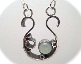 Horseshoe Bubble Pendant with Set Blue Chalcedony in .925 Sterling on a sterling link chain.