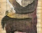 SALE Horse Man Gesturing Original Monster Monoprint