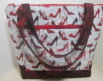 Red Hot High Heels Large Quilted Tote Bag 802
