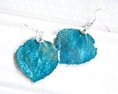 Turquoise Glitter Aspen Leaf Earrings, Bridesmaid Earrings