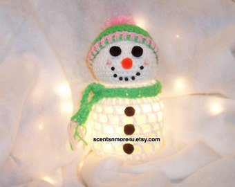 Crochet Snowman With Lights, Lime Green & Pink