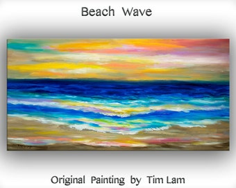 Sea art oil painting Original abstract Sunrise Impress colorful wave Fiery sky on gallery wrap canvas Ready to hang by tim Lam 48x24