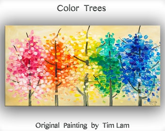 "Art Painting Original impasto modern tree art 48"" MULTI colors landscape painting acrylic painting on gallery canvas by tim lam"