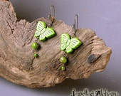 Green Magnesite Butterfly Earrings with Ocean Jasper and High Quality Ear wires