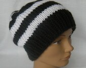Black and White Striped Hat Beanie Knit