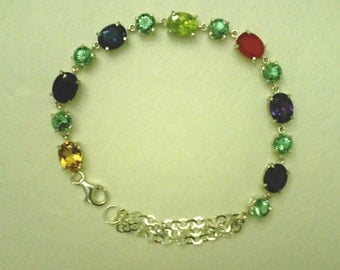 9x7mm Assorted Gemstones and 6mm Color Change Zandrites in 925 Sterling Silver Bracelet